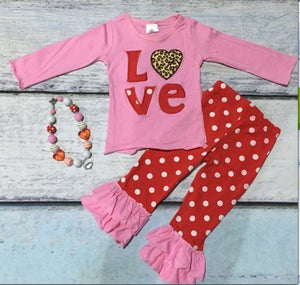 Image of Valentines's Day LOVE outfit with red and white polka dot pants, baby, toddler, girl