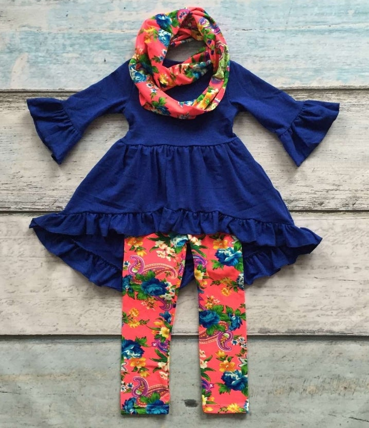 Image of Bright Blue Tunic Top with floral leggings and matching scarf, baby, toddler, girl
