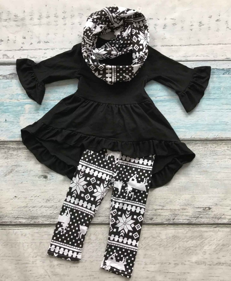 Infantile Black Tunic Top With Matching Leggings And