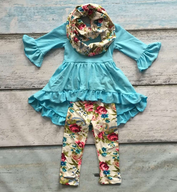 Image of Aqua Blue Tunic top with matching floral leggings and scarf, baby, toddler girl