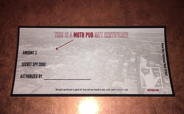 Image of MOTR Pub Gift Certificate $25