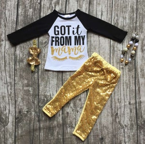 "Image of ""Got it from my Mama"" gold glitter legging set, baby, toddler, girl"
