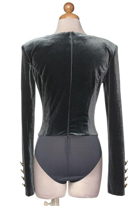 Image of Velour Deep V Bodysuit