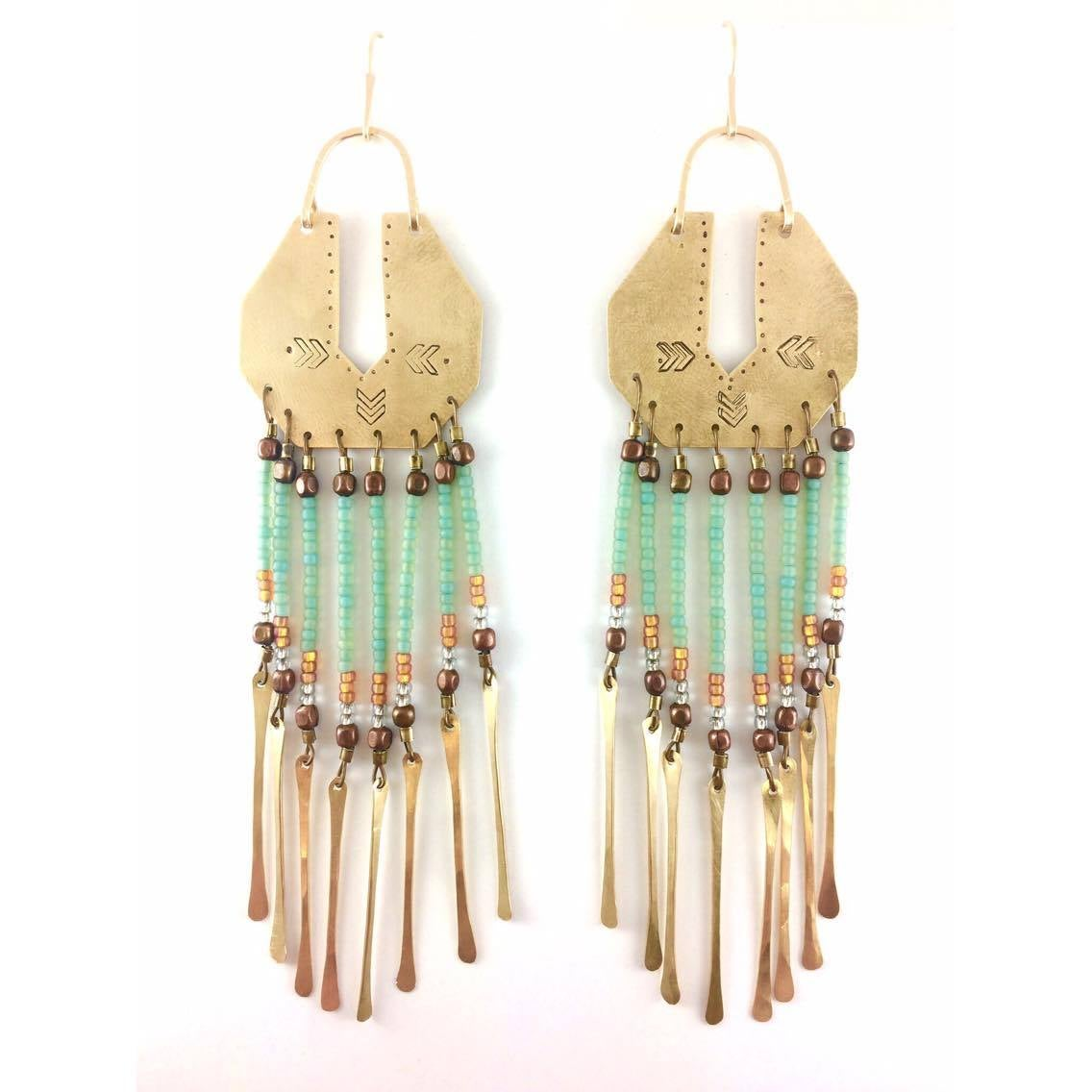 Image of Serpentina Brass Fringe Earrings Seafoam Beads