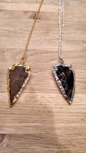 Image of Stone and Crystal  Arrowhead Necklaces.