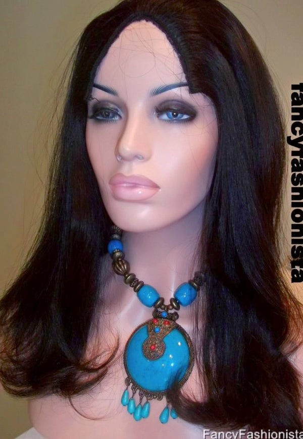 "Image of Indian Remy 16"" straight U Part Wig #1B"