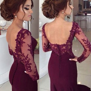 Image of Burgundy Lace Sweetheart Open Back Evening Dress With Long Sleeves