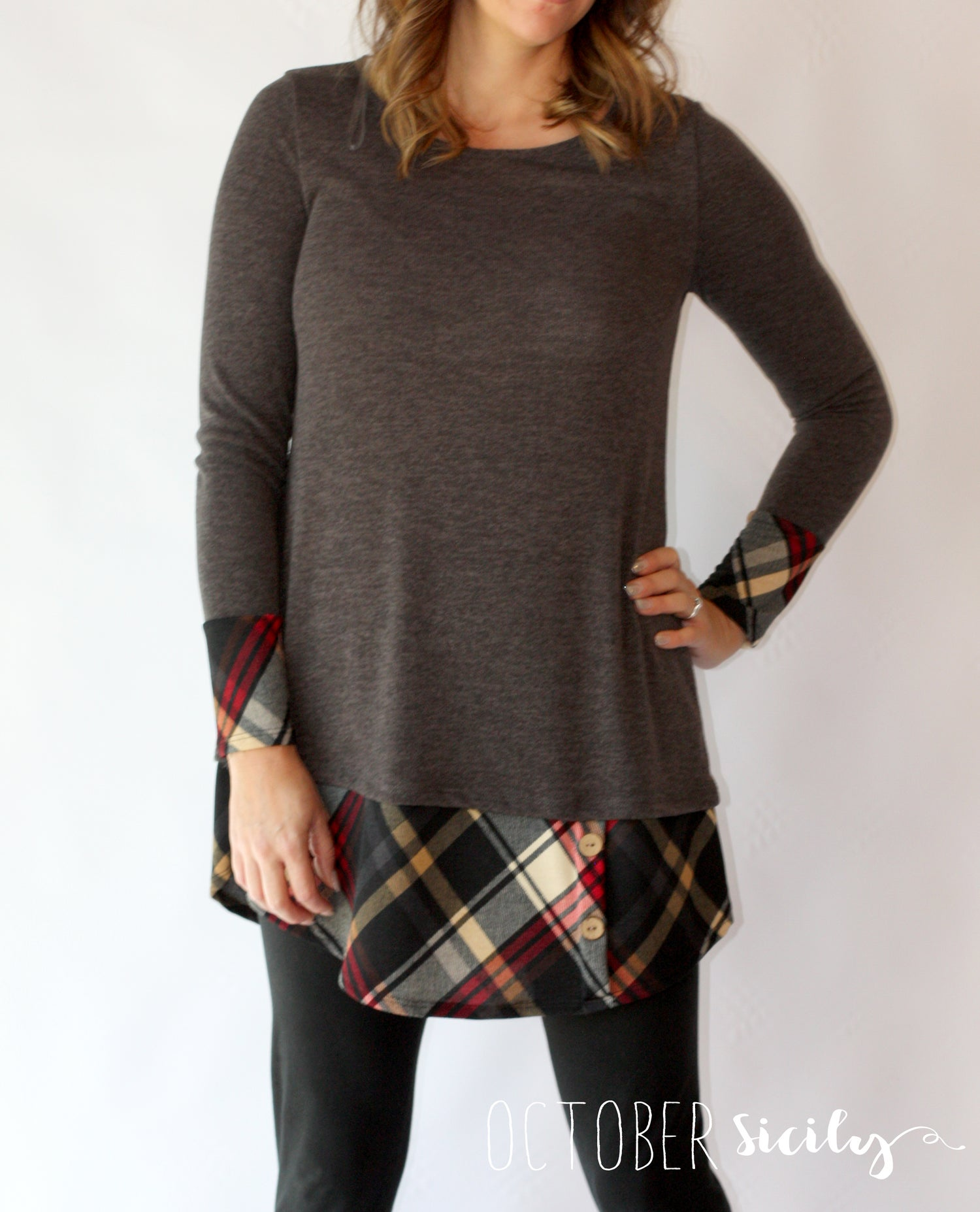 Image of Charcoal Plaid Long Top/Tunic