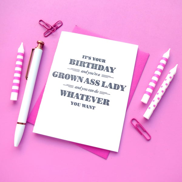 Image of grown ass lady birthday letterpress card