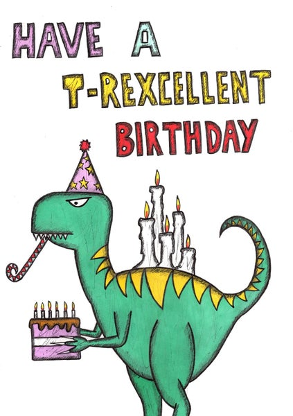 Image Of T Rex Birthday Card