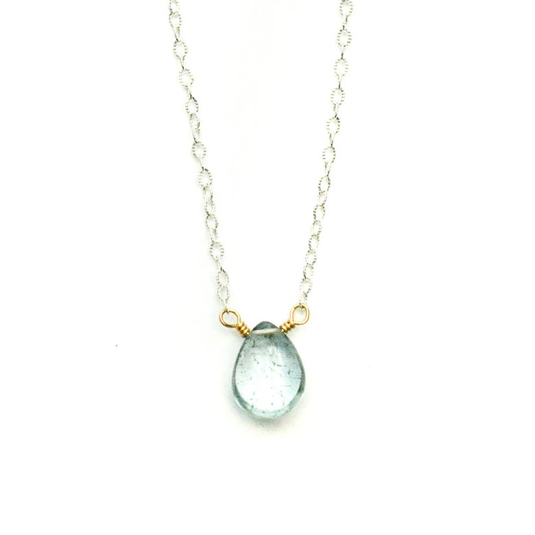 Image of Moss aquamarine necklace solitaire sterling silver