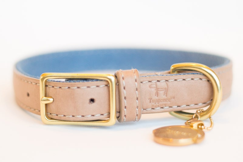 Image of Tuppence Collar - Light Tan & Denim