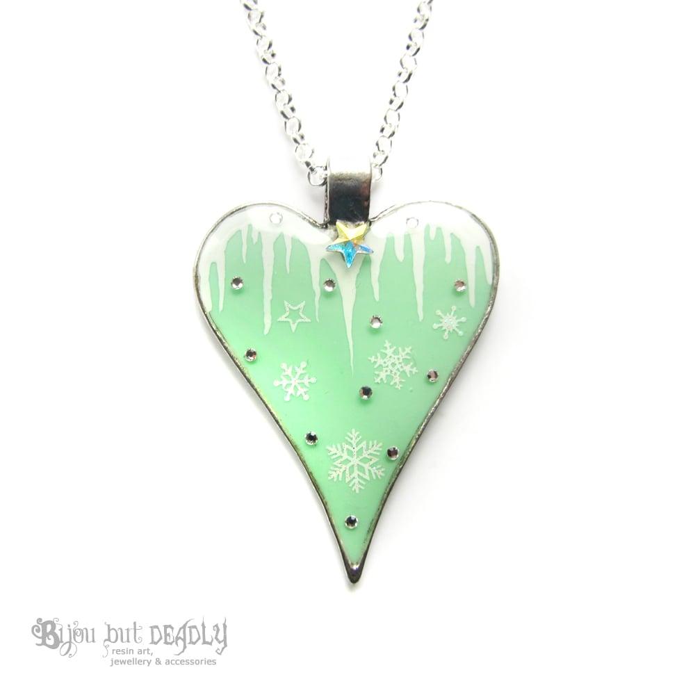 Icicle & Snowflake Heart Pendant