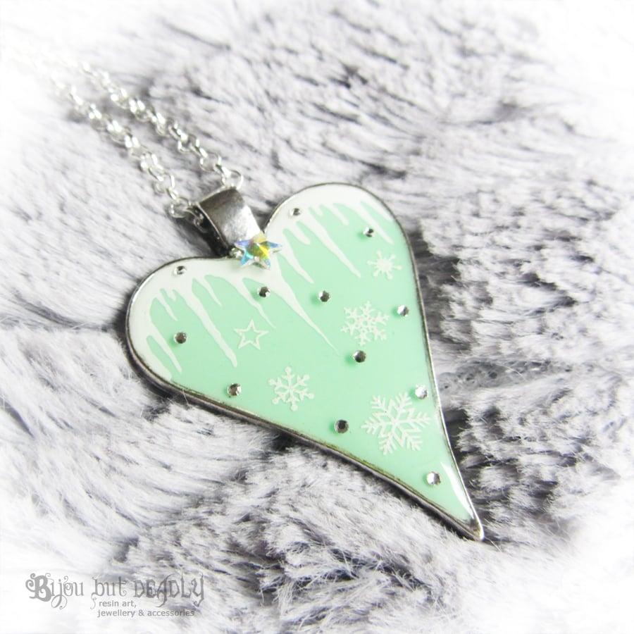 Image of Icicle & Snowflake Heart Pendant