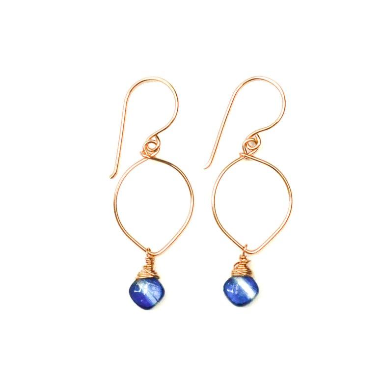 Image of Kyanite earrings lotus loop v2 14kt rose gold-filled
