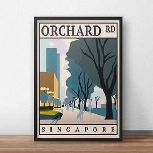 Image of Orchard Road Vintage-Style Travel Poster