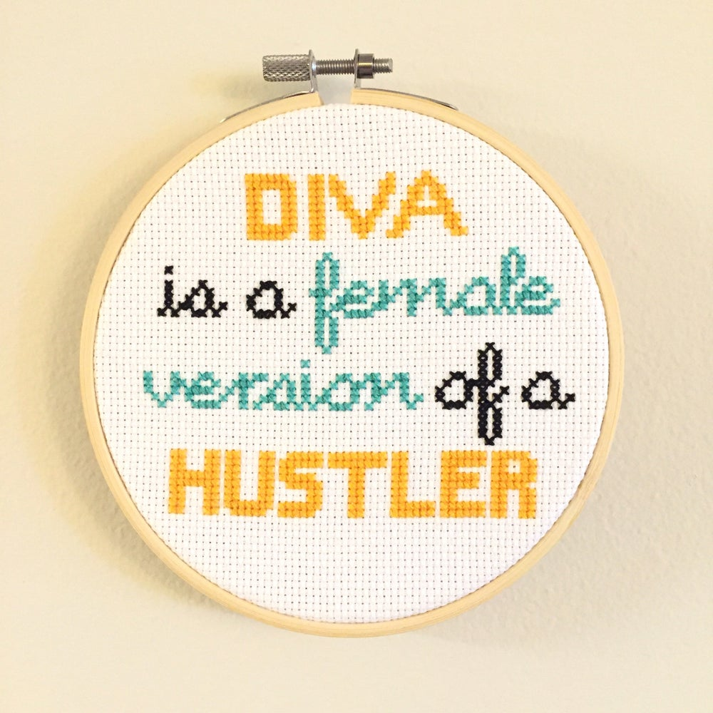 "Image of ""Diva is a Female Version of a Hustler"" Beyonce Lyrics Cross Stitch Pattern by NewStitchInTown"