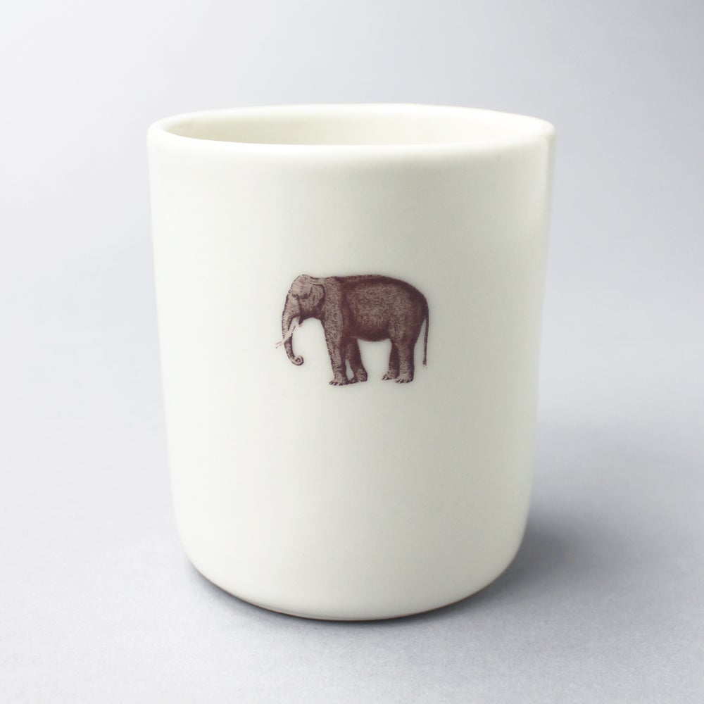 Image of 10oz tumbler with elephant, ivory
