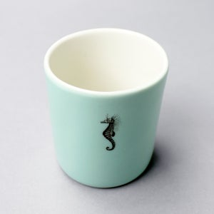 Image of 10oz tumbler with seahorse, aqua