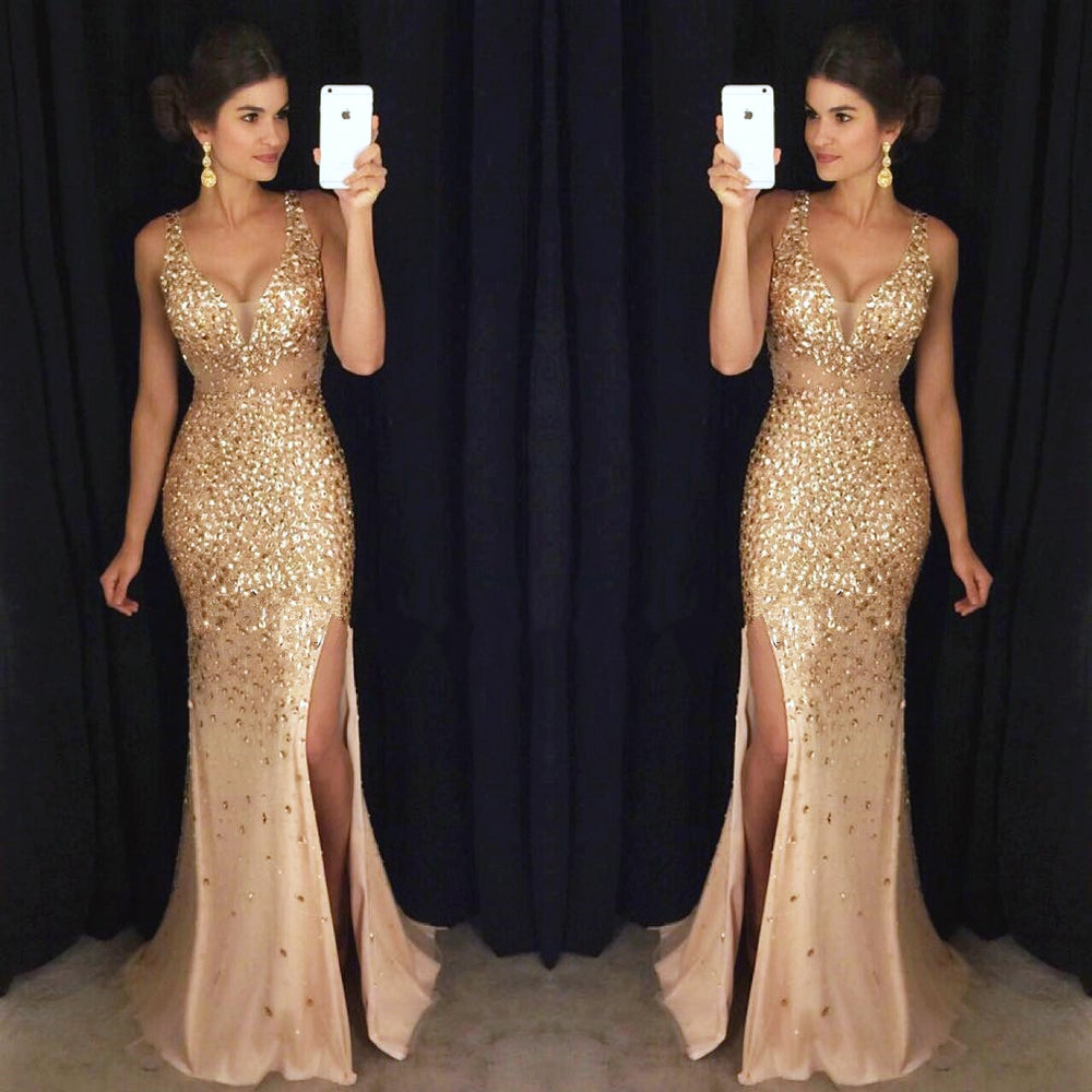 Honey Dress — Gorgeous Gold Beaded Illusion Deep V-Neck Long Prom ...