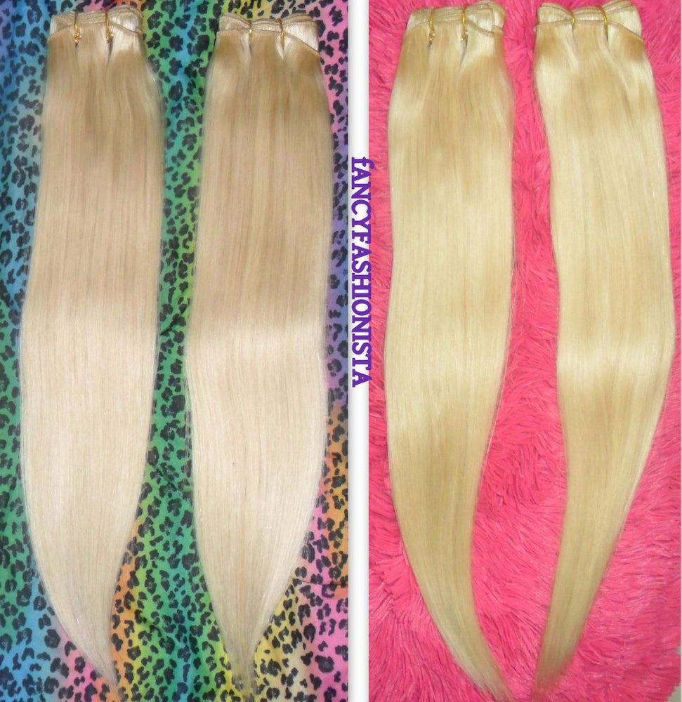 Image of Custom #613 Clip In Hair Extensions + #613 Hair Wefts