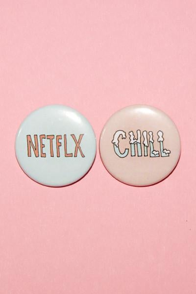 Image of BFF NETFLX + CHILL BUTTON SET