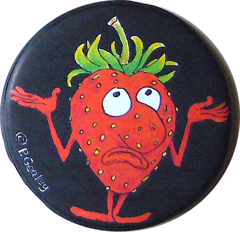 Image of Shrugging Strawberry magnet or pin