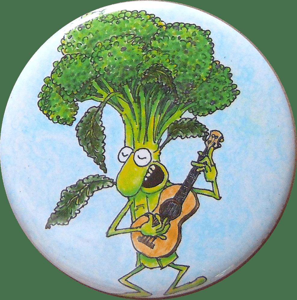 Image of Broccoli Playing Ukulele magnet/pin