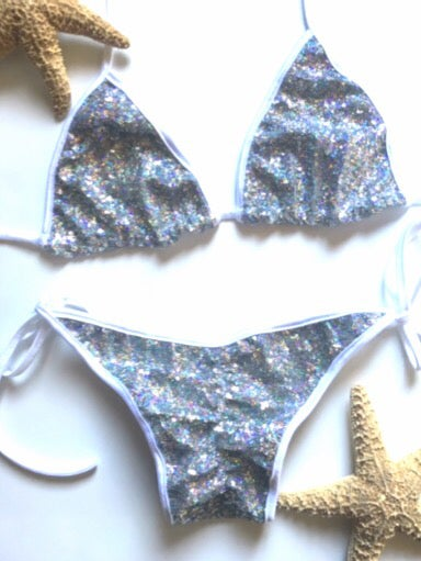 Image of Triangle silver sequin Bikini with white scrunch butt