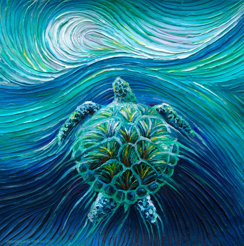 Image of Turtle Spirit Energy Painting - Giclee Print