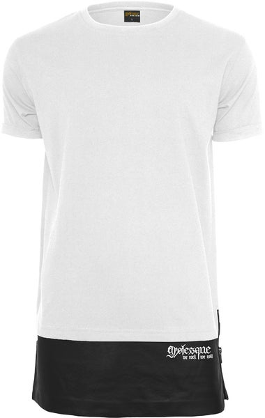 Image of LOGO ZIPPED LEATHER BOTTOM TEE WHITE