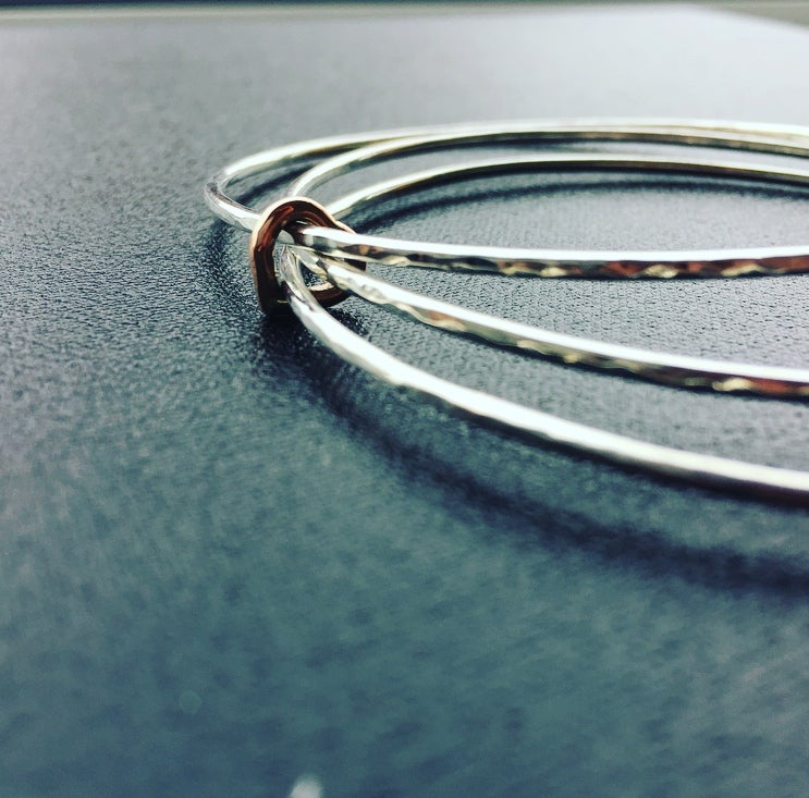 Image of Silver Hammered Bangle with 9ct Rose Gold HEART