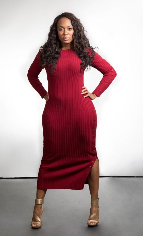 Image of Ribbed Snap Maxi Dress
