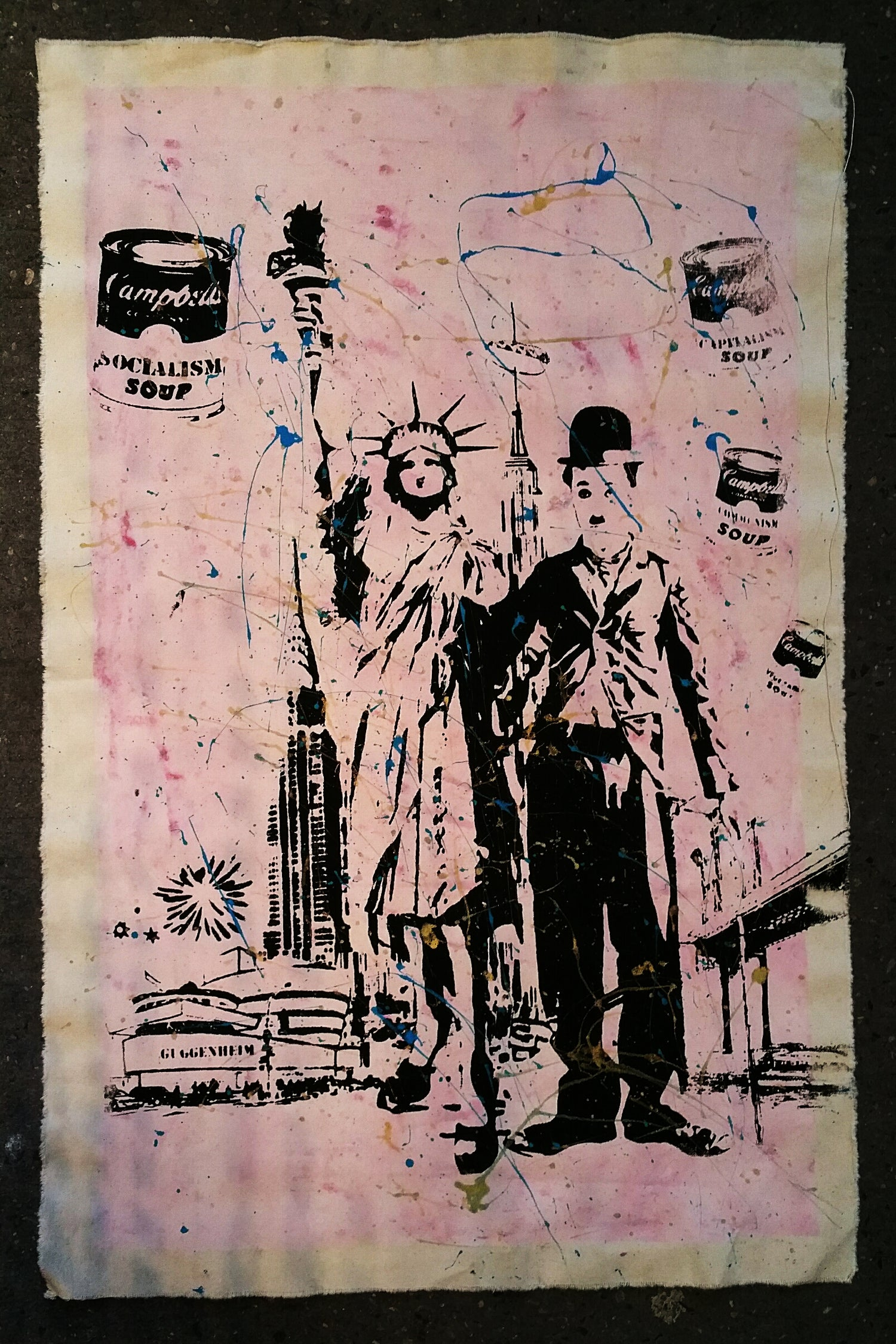 Image of Charlie Chaplin and Statue of Liberty, Guggenheim, Brooklyn Bridge on a New York Bike map, canvases.