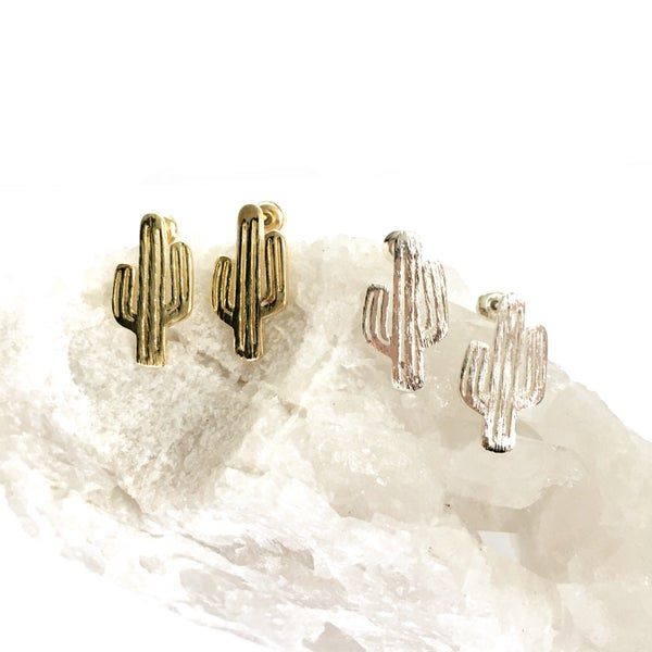 Image of Cactus Outline Stud Earrings