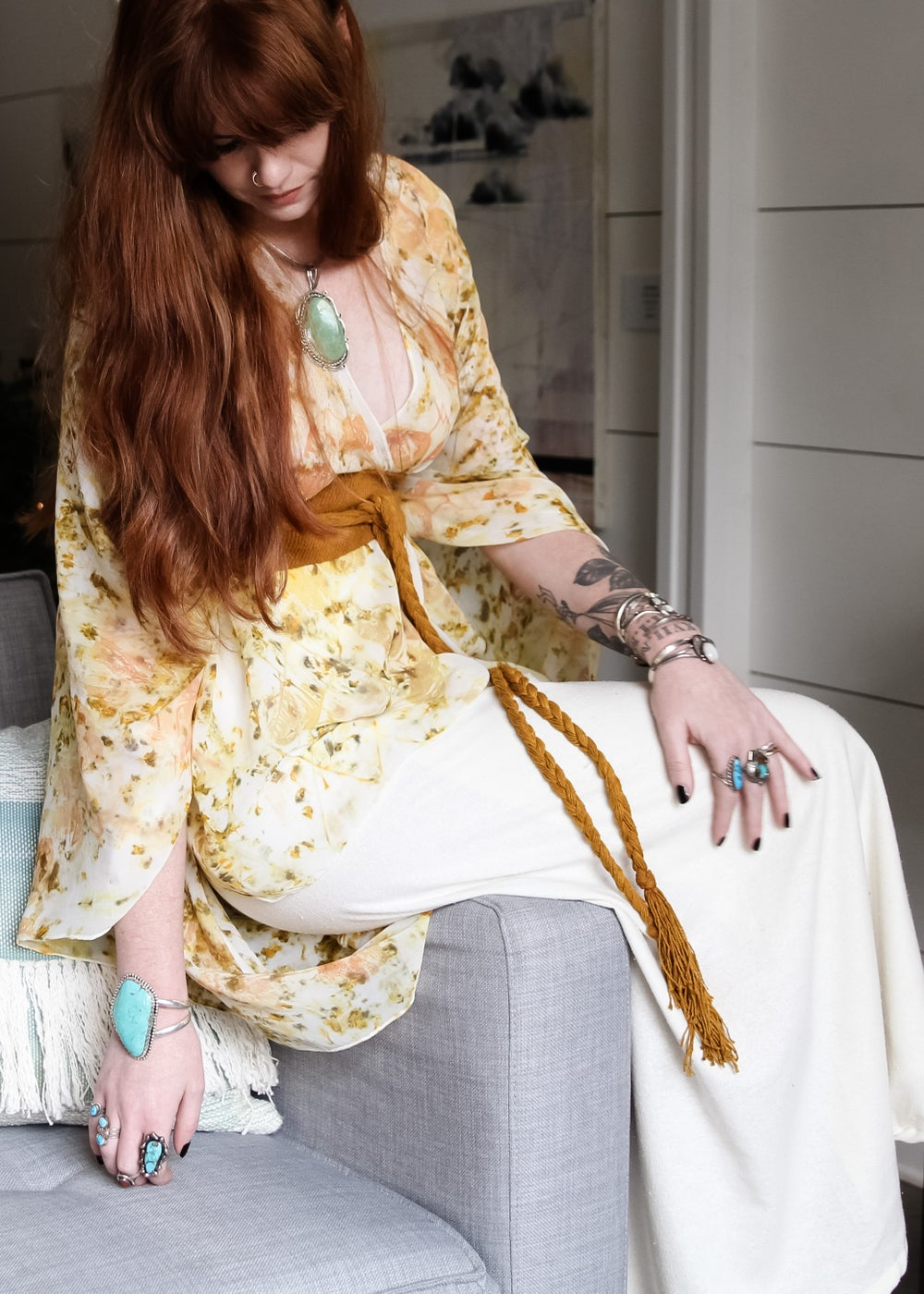 Image of Silk Kimono Cape with belt