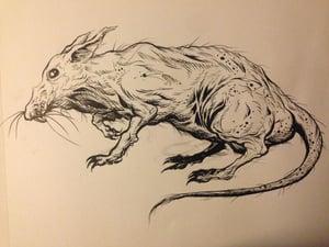 Image of naked mole rat inked piece