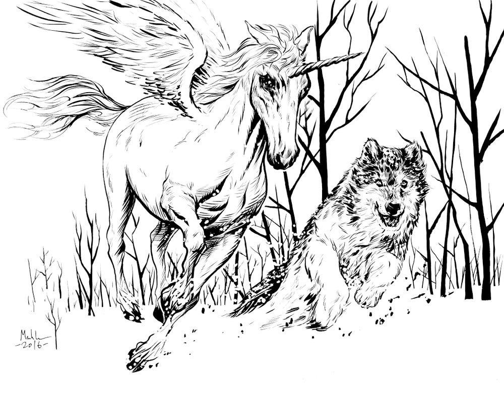 Image of magical friends unicorn and wolf inked piece