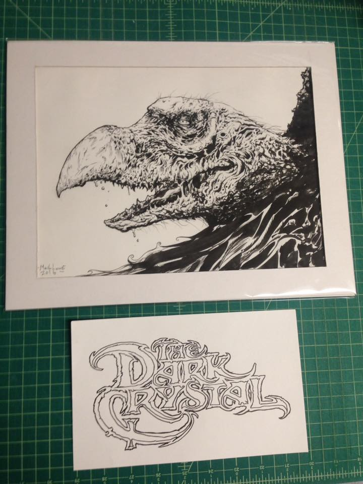 Image of SKEKSI inked piece along with dark crystal logo inks