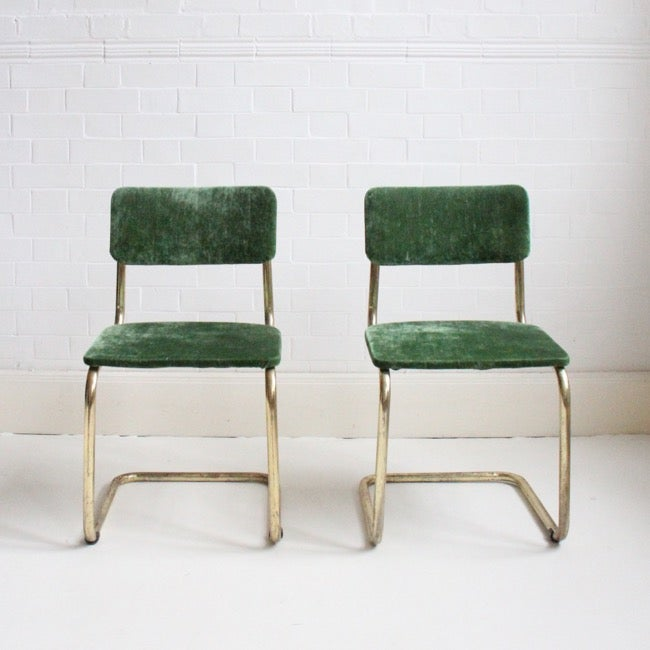 Image of Pair of green velvet brass cantilever chairs