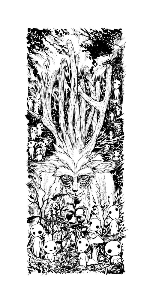 Image of princess mononoke hand inked deer god forest spirt art.
