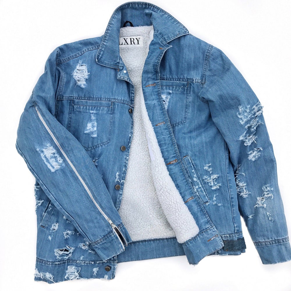 Image of Distressed Denim/Sherpa Jacket (Flag/No Flag)