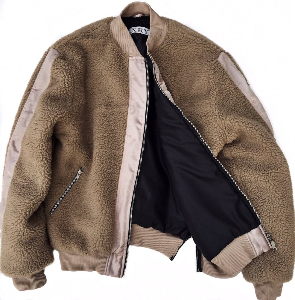 Image of Cream Sherpa/Nylon Bomber