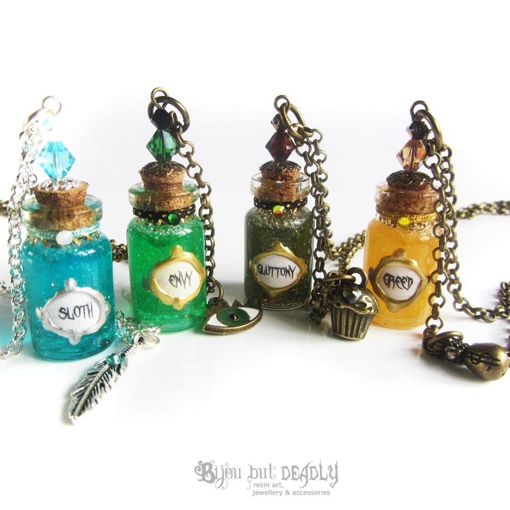 7 Deadly Sins Bottle Necklace
