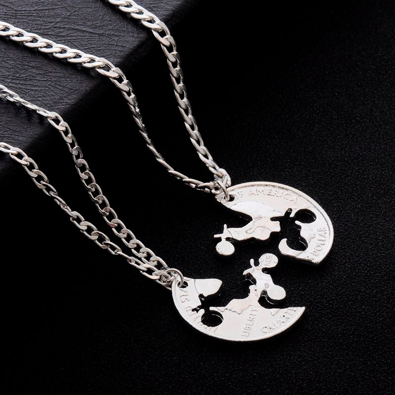 Image of Dirt Bikes Couples/Best Friend Necklace Set
