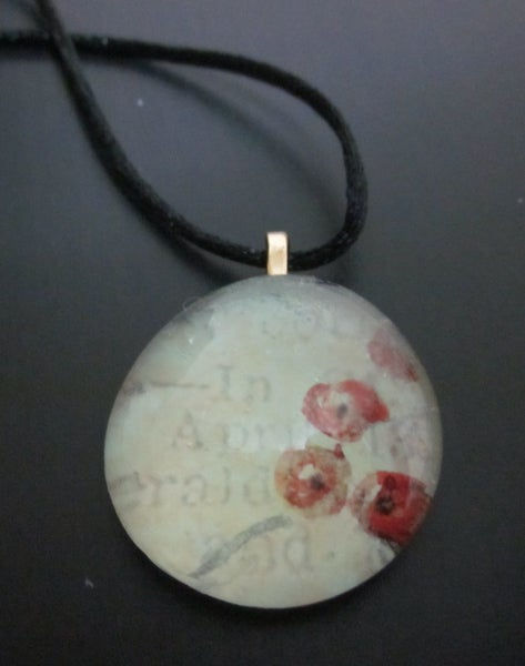 Image of Flowers & Writing - Upcycled Glass Cabochon Pendant