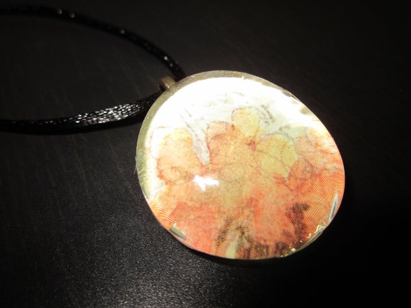 Image of Faint Flower - Upcycled Glass Cabochon Pendant