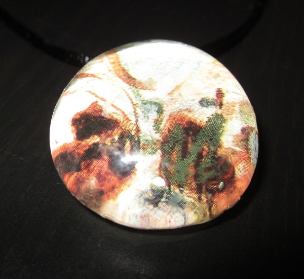 Image of Earthen Scribbles - Upcycled Glass Cabochon Pendant