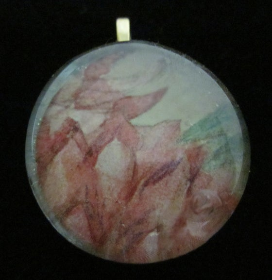 Image of Faint Petals - Upcycled Glass Cabochon Pendant