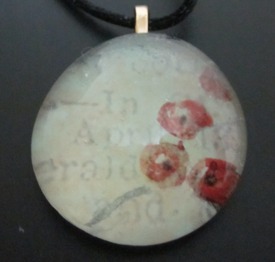 Image of Flowers & Writing - Upcycled Glass Cabochon Pendant